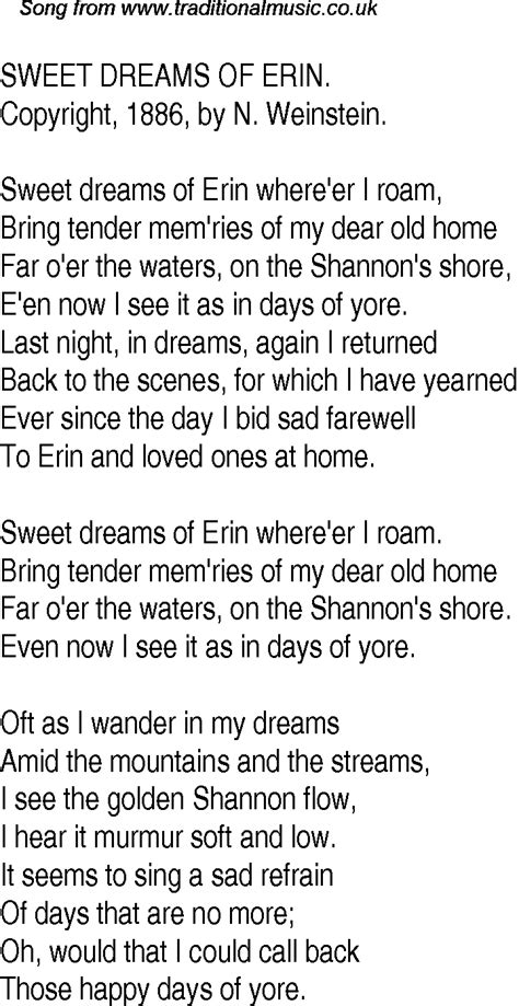 Old Time Song Lyrics for 14 Sweet Dreams Of Erin