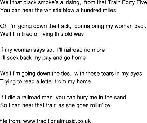 Old Time Song Lyrics   Train 45