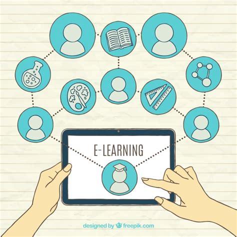 Online lernen hintergrund mit tablett und elementen ...