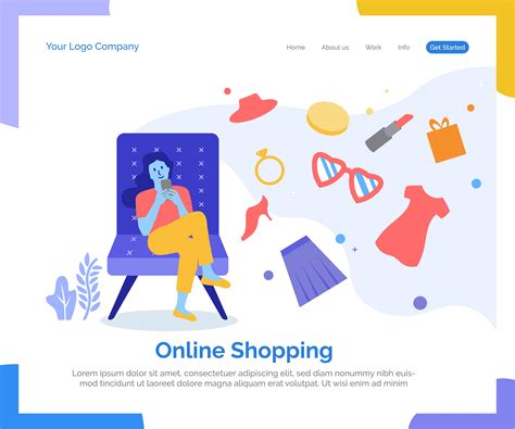 Online shopping landing page vector background.   Download ...