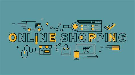 Online Shopping Typography. Orange flat line design in ...