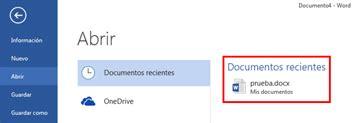 OP MicrosoftOffice basico: 3. Abrir un documento