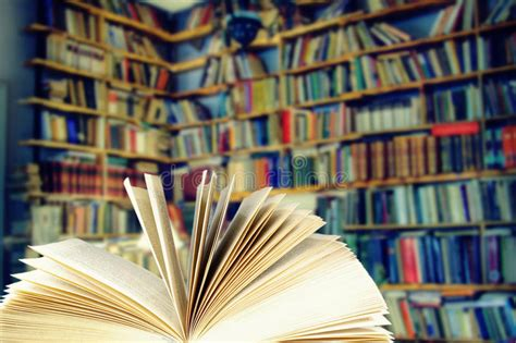 Open book in a library stock image. Image of life ...