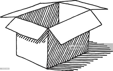 Open Empty Cardboard Box Drawing High Res Vector Graphic ...