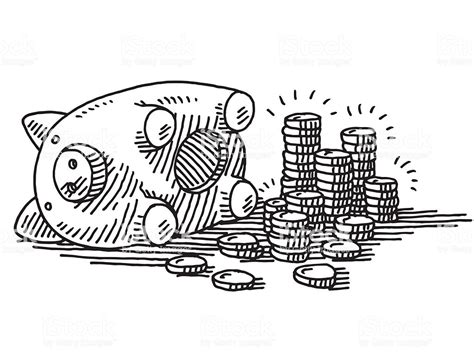 Opened Piggy Bank Coins Savings Drawing Stock Illustration ...