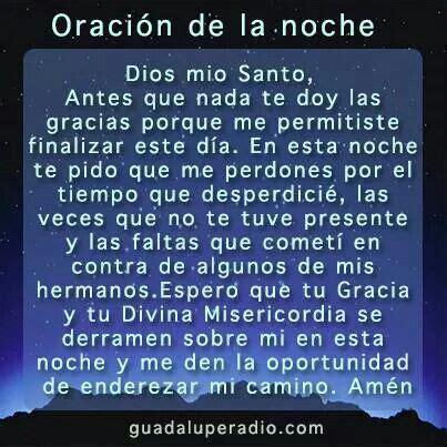 ORACIÓN DE LA NOCHE. !!!★   Oraciones   Pinterest