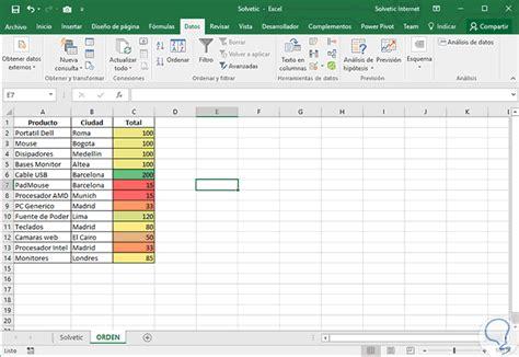 Ordenar datos de celdas por color Excel 2016   Solvetic