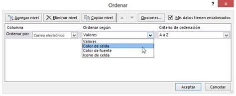 Ordenar datos en un rango o tabla   Excel