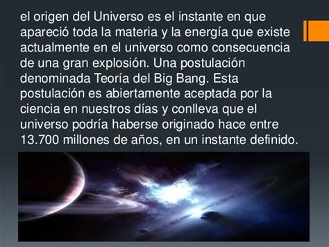 Origen y evolucion del universo