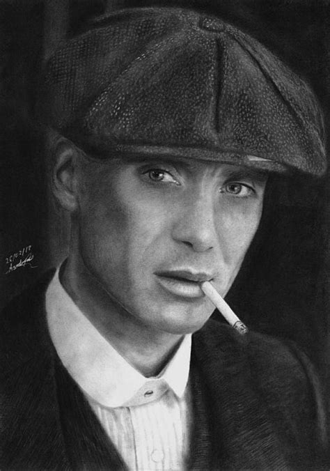 Original portrait of Tommy Shelby done with charcoal