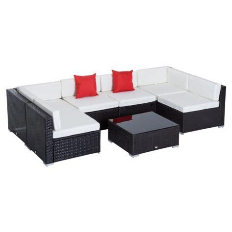 Outsunny Conjunto Muebles De Jardín Ratán 7 Piezas Set De ...