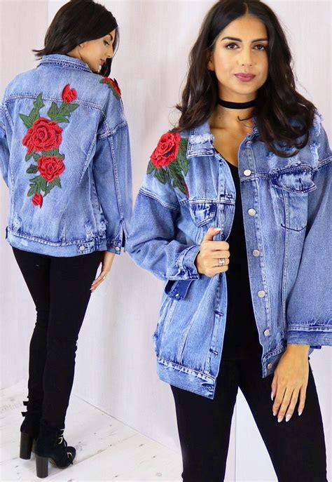 Oversized Boyfriend Denim Jacket with 3D Embroidered Rose ...