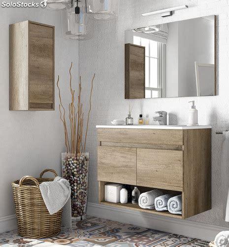 Pack mueble baño con espejo lavabo de cerámica y armario ...