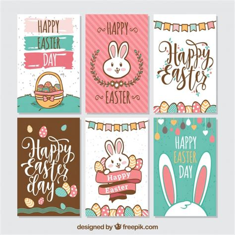 Pack of six creative easter cards Vector | Free Download