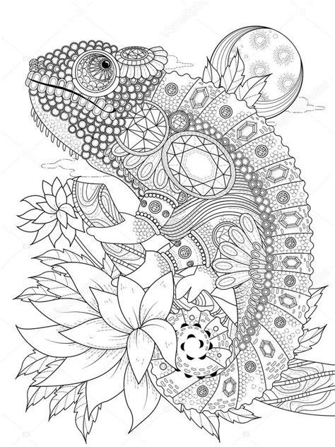 Página para colorear de adultos   de camaleón adornada con ...