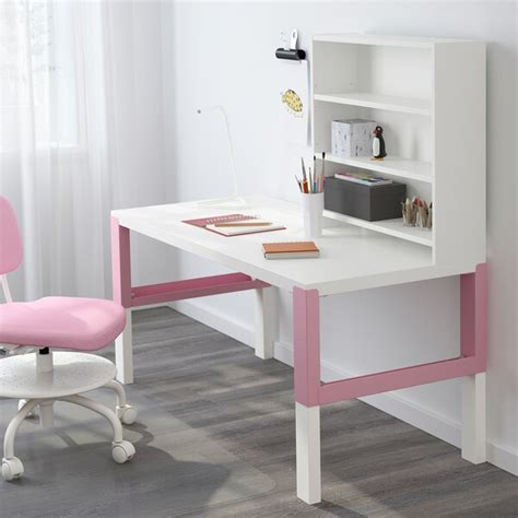 PÅHL Escritorio con estantería   blanco, rosa   IKEA
