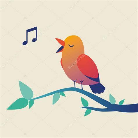 Pajarito que canta lindo en rama — Vector de stock ...