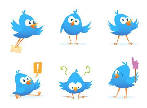 Pájaros azules volando en estilo de dibujos animados ...
