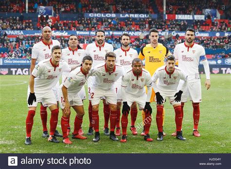 Pamplona, Spain. 22nd Jan, 2017. Sevilla team group line ...