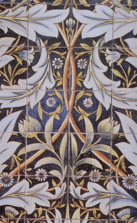 Panel of ceramic tiles designed by Morris and produced by ...