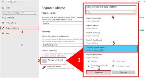 Pantallazos.es: Windows 10: Cambiar Idioma del entorno.