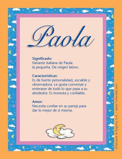 Paola, significado del nombre Paola, nombres