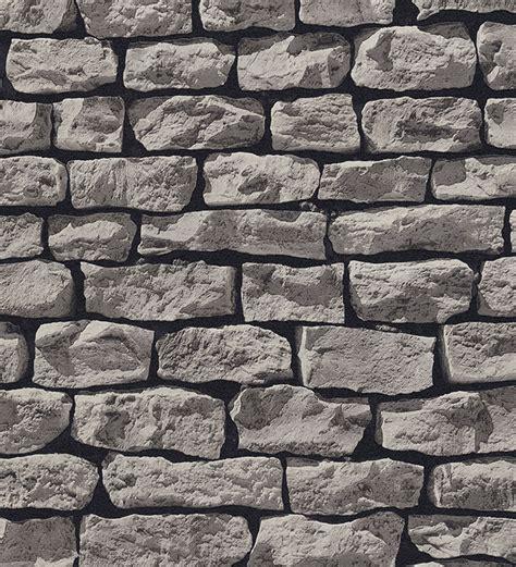 Papel pintado muro de piedra estilo rústico color gris ...