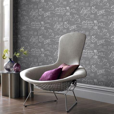 Papier peint papier Words gris | Leroy Merlin