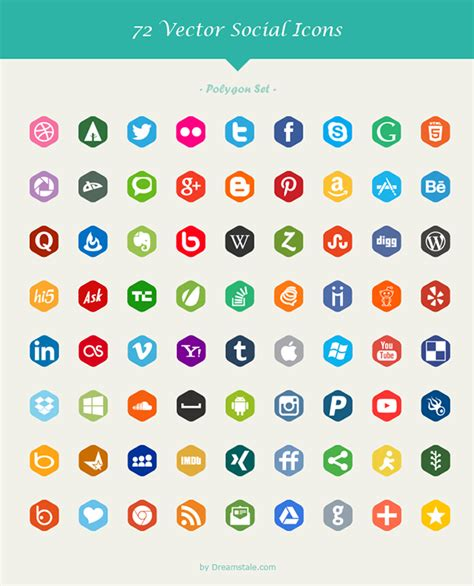 Paquete con 72 Iconos de redes sociales en 6 estilos