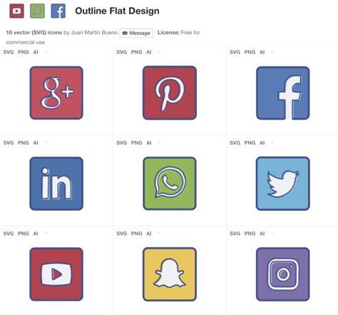 Paquete de iconos flat de redes sociales gratis   Frogx Three