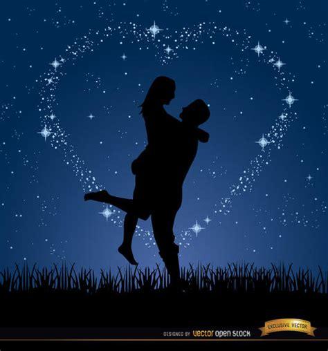 Pareja amor noche estrellas fondo   Descargar vector