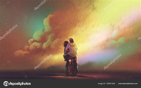 Pareja Enamorados Bicicleta Contra Cielo Nocturno Con ...