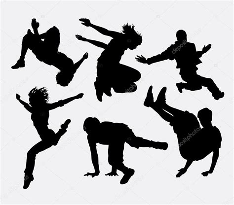Parkour and dancer silhouette — Stock Vector ...