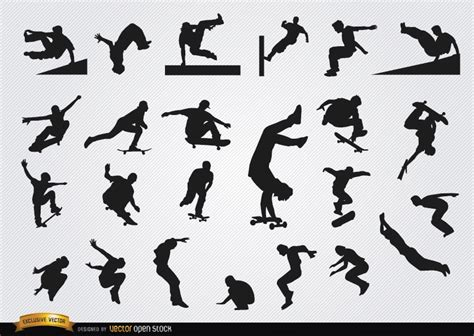 Parkour and skateboarding silhouettes   Vector download