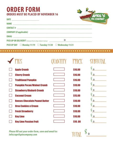Part 2 of a custom menu order form we created for ...