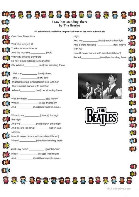 Past Simple Song by The Beatles   English ESL Worksheets ...