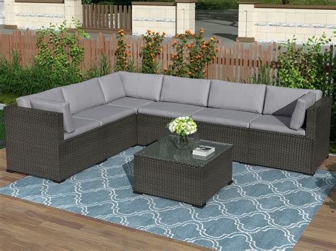 Patio Furniture Set Outdoor Sectional Conversation Set, 7 ...