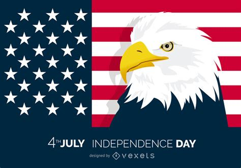 Patriotic 4th of July poster with eagle   Vector download