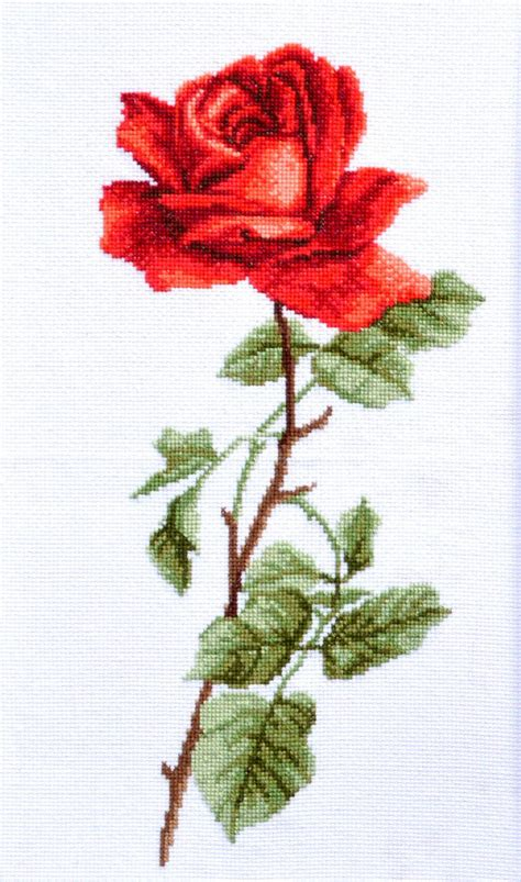 Patron Punto de Cruz Flor Grande Rosa Roja   Descarga ...