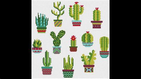 Patrones para punto de cruz especial cactus I | Aprende a ...