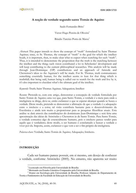 PDF  A noção de verdade segundo santo Tomás de Aquino