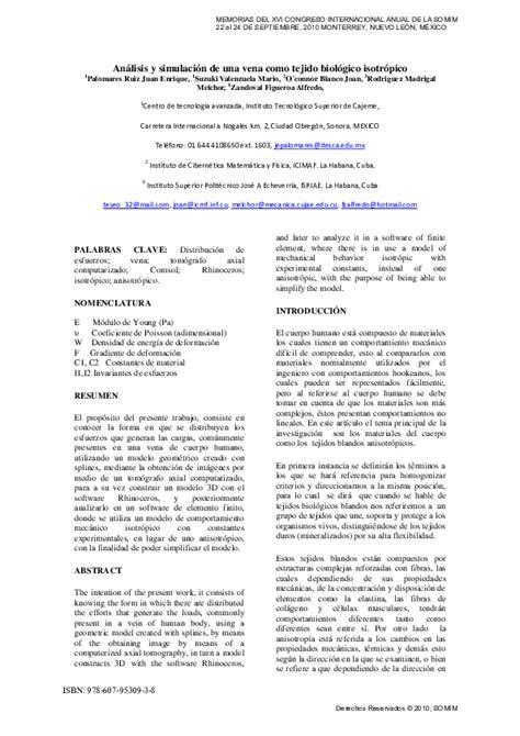 PDF  Análisis y simulación de una vena como tejido ...