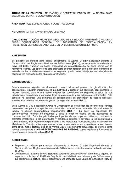 PDF  APLICACIÓN Y COMPATIBILIZACIÓN DE LA NORMA G.050 ...