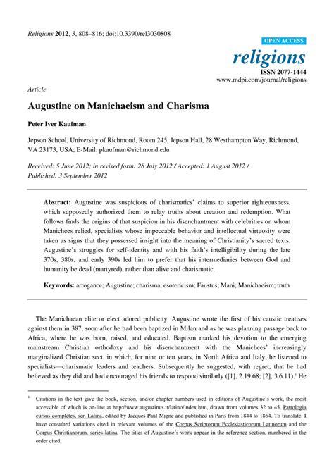PDF  Augustine on Manichaeism and Charisma