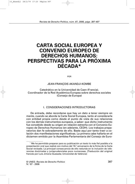 PDF  Carta Social Europea y Convenio Europeo de Derechos ...