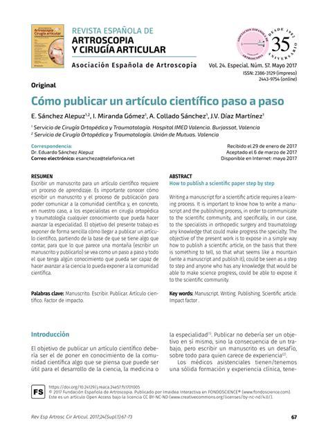 PDF  Cómo publicar un artículo científico paso a paso