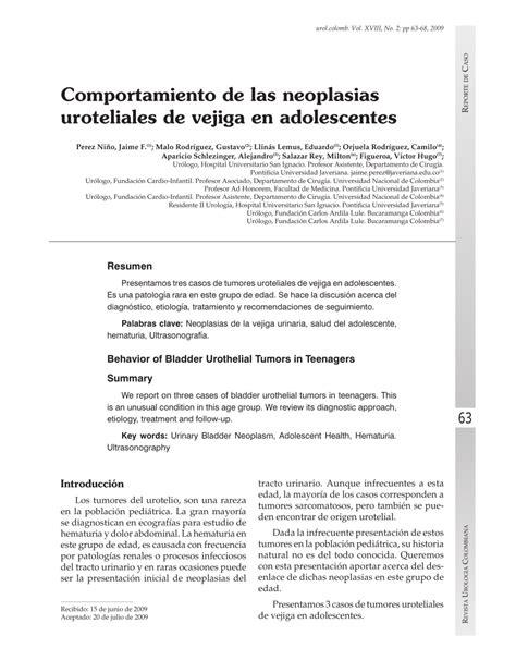 PDF  Comportamiento de las neoplasias uroteliales de ...