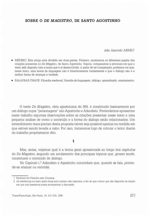 PDF  Concerning Saint Augustine s De Magistro