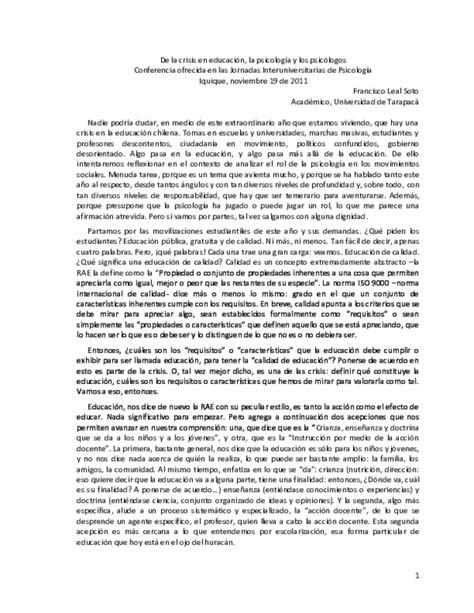 PDF  De la crisis en educación, la psicología y los ...