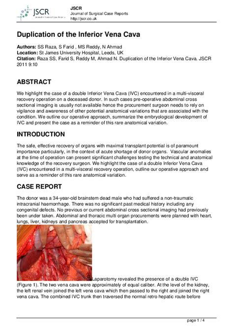 PDF  Duplication of the Inferior Vena Cava   Jayanta ...